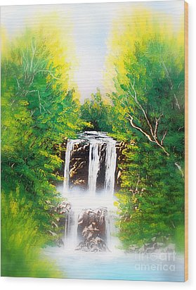 Falls 02 E Wood Print by Greg Moores