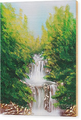 Wood Print featuring the painting Falls 04 by Greg Moores