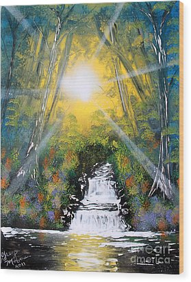 Wood Print featuring the painting Falls 05 by Greg Moores