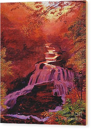 Falls Of Fire Wood Print by David Lloyd Glover