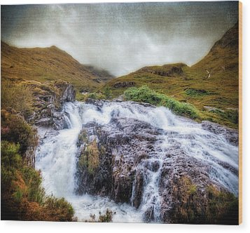 Falls Of Glencoe Wood Print by Ray Devlin