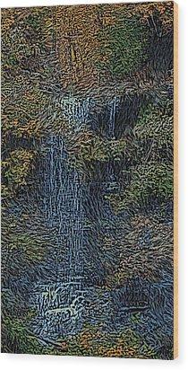 Falls Woodcut Wood Print by David Lane