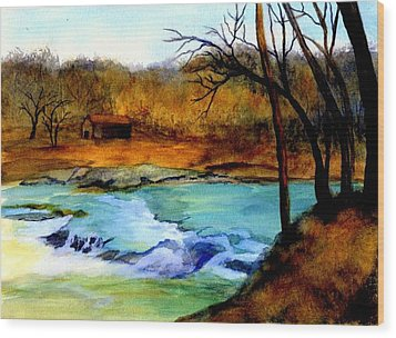 Fallsburg Ky Falls Wood Print by Gail Kirtz