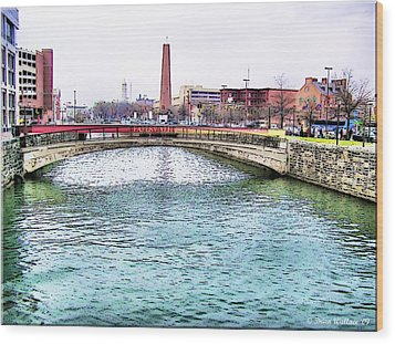 Wood Print featuring the photograph Fallswalk And Shot Tower by Brian Wallace