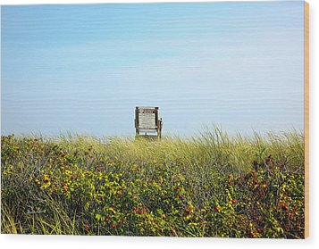 Wood Print featuring the photograph Falmouth Beach Open 9-5 by Madeline Ellis