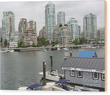 Wood Print featuring the painting False Creek Vancouver by Rod Jellison