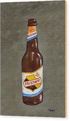 Falstaff Beer Bottle Wood Print by Elaine Hodges