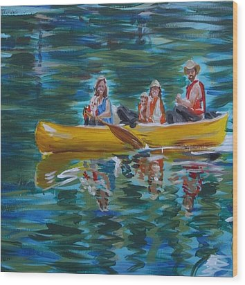 Family Canoe Trip From Spring 1 Wood Print by Jan Swaren