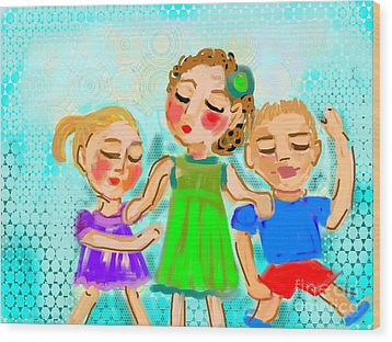 Wood Print featuring the digital art Family Fun by Elaine Lanoue