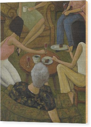 Wood Print featuring the painting Family Gathering by Glenn Quist