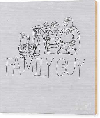 Family Guy Pencil Sketch Wood Print by Vincent Gitto