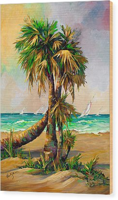 Family Of Palm Trees With Sail Boats Wood Print by Mary DuCharme