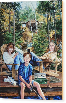 Family On The Dock Wood Print by Hanne Lore Koehler