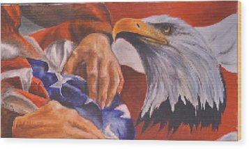 Family Receives Flag Wood Print by Ken Pridgeon