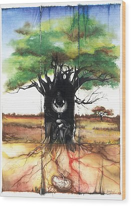Family Tree Wood Print by Anthony Burks Sr