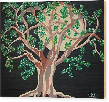 Wood Print featuring the painting Family Tree by Carolyn Cable