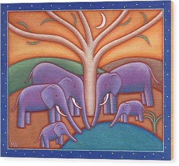 Family Tree Wood Print by Mary Anne Nagy