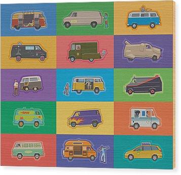 Famous Vans Wood Print by Mitch Frey