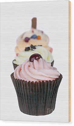 Fancy Cupcakes Wood Print by Jane Rix