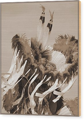 Wood Print featuring the photograph Fancy Dancer In Sepia by Heidi Hermes