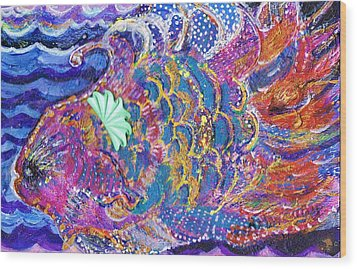 Fancy Fish On A Monday  Wood Print by Anne-Elizabeth Whiteway