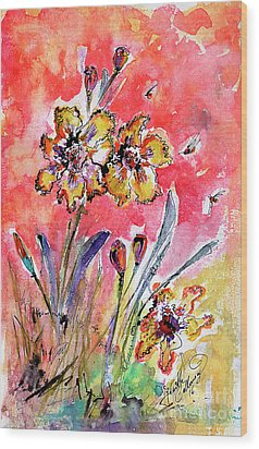 Wood Print featuring the painting Fancy Irises Flower Watercolor by Ginette Callaway