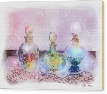 Fancy Perfume Bottles Wood Print by Arline Wagner