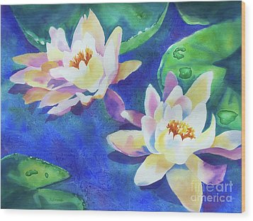 Wood Print featuring the painting Fancy Waterlilies by Kathy Braud