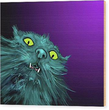 Wood Print featuring the painting Fang Dizzycat by DC Langer