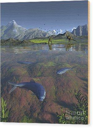 Fanged Enchodus Predatory Fish Wood Print by Walter Myers