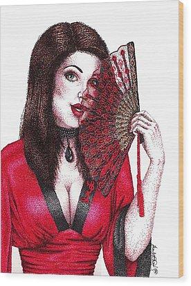 Fanning Flirtation Wood Print by Scarlett Royal