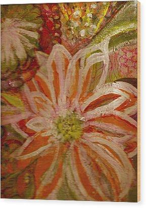 Fantasia With Orange And White Wood Print by Anne-Elizabeth Whiteway