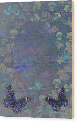 Fantasy Butterfly Painted Pansy Wood Print by Judith Cheng