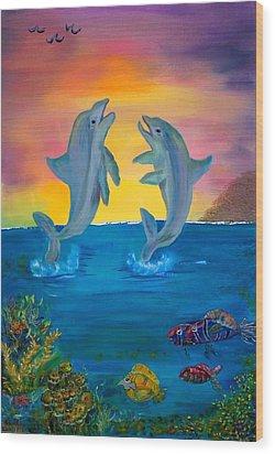 Fantasy Dolphins Wood Print by Mikki Alhart