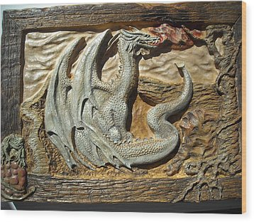 Fantasy Dragon Wood Print by Doris Lindsey