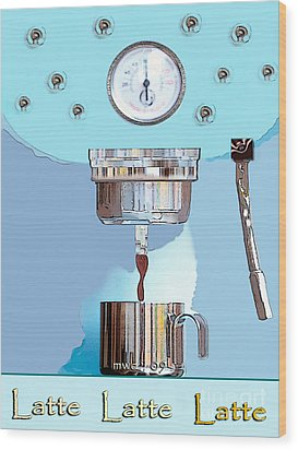 Fantasy Espresso Machine Wood Print by Marian Cates