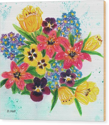 Fantasy Flowers #233 Wood Print by Donald k Hall