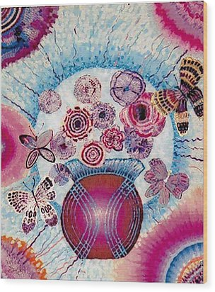 Fantasy Flowers Wood Print by Brenda Adams