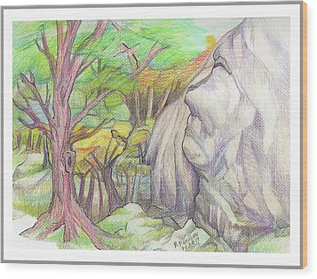 Fantasy Forest Rock Wood Print by Ruth Renshaw