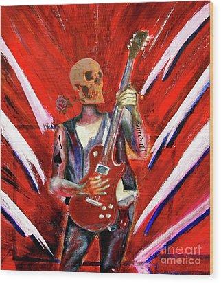 Fantasy Heavy Metal Skull Guitarist Wood Print