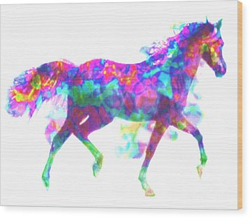 Wood Print featuring the painting Fantasy Horse by Elinor Mavor