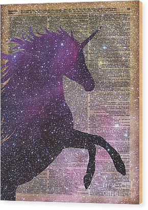 Fantasy Unicorn In The Space Wood Print by Jacob Kuch