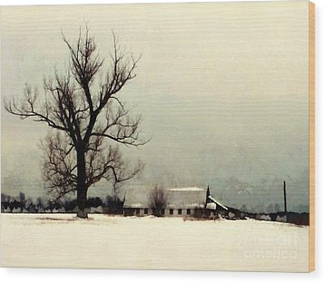 Wood Print featuring the photograph Far From Home - Winter Barn by Janine Riley