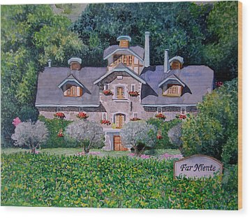 Wood Print featuring the painting Far Niente Winery by Gail Chandler