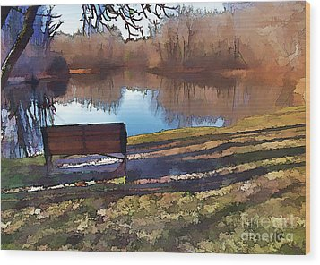 Farewell Fishing Wood Print by Betsy Zimmerli