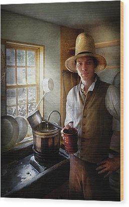 Farm - Farmer - The Farmer Wood Print by Mike Savad