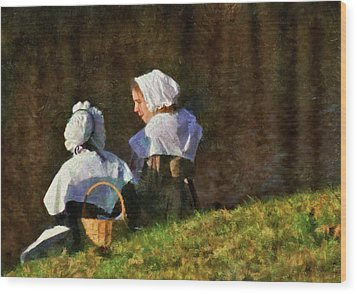Farm - Farmer - The Young Maidens Wood Print by Mike Savad
