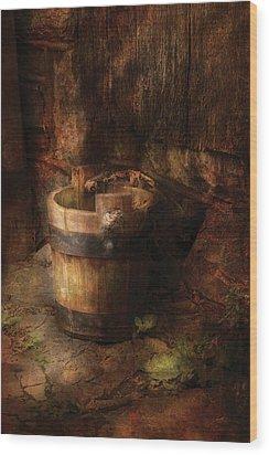 Farm - Pail - An Old Pail Wood Print by Mike Savad