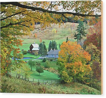 Farm And Fence Vermont Wood Print