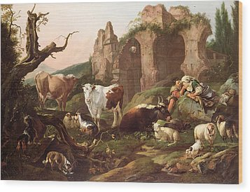 Farm Animals In A Landscape Wood Print by Johann Heinrich Roos